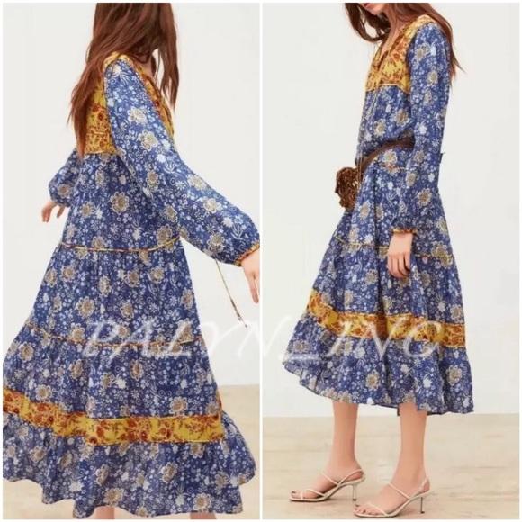 ZARA FLORAL PRINT PLEATED MAXI LONG FLOWING DRESS YELLOW SIZE XS XL
